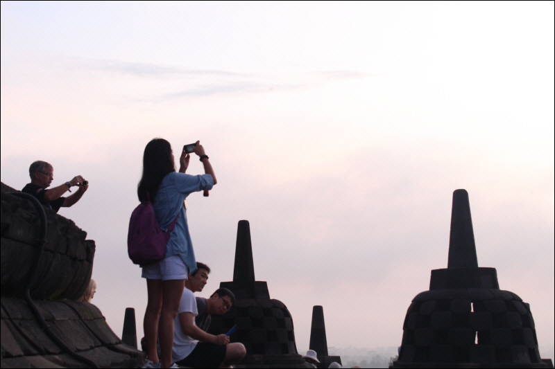 Catching the sun rising over Borobudur