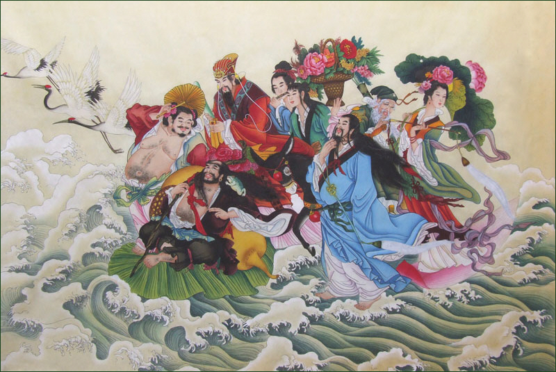 Eight Immortals cross the sea, by Huang Yi
